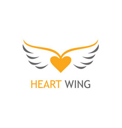 gold heart wing logo vector image vector image