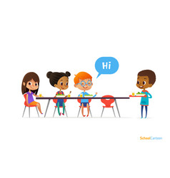 multiracial kids sitting at table in school vector image vector image