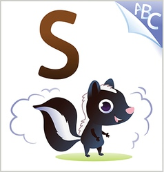 Animal alphabet for the kids S for the Skunk vector image