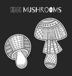 Ornate mushrooms black and white for vector