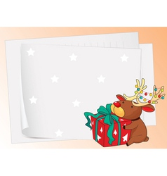paper sheets and a reindeer vector image vector image