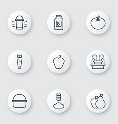 Set of 9 planting icons includes jar cereal vector