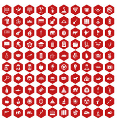 100 elephant icons hexagon red vector