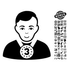 3rd Prizer Sportsman Flat Icon With Bonus vector image