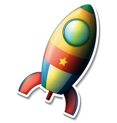a sticker template with rocket space cartoon vector image
