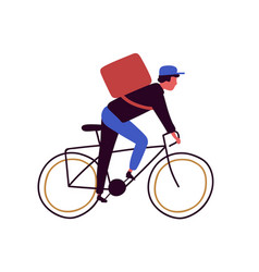 backpacker cartoon male riding on bicycle vector image