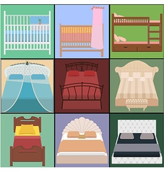 Bed set collection different types of beds vector