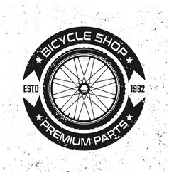 bicycle round retro emblem with bike wheel vector image