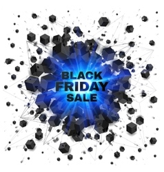 Black friday sale abstract shaded cubes blue vector