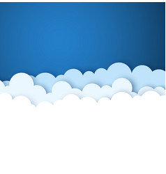 Blue sky with white paper decorative clouds vector
