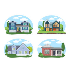 Buildings set flat design houses set vector
