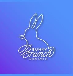 Bunny brunch linear lettering vector