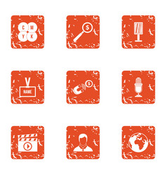 Business mentor icons set grunge style vector