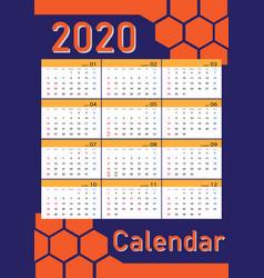 Calendar 2020 template vector