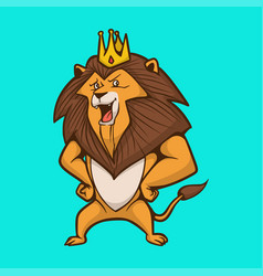 Cartoon animal design lion wears a crown cute vector