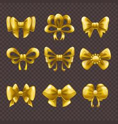 Cartoon golden satin bows set vector