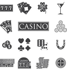 Casino and gambling icons set with slot machine vector image
