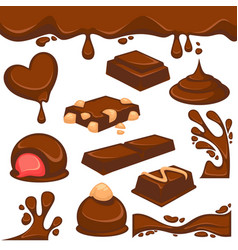 Chocolate dessert and candy icons vector