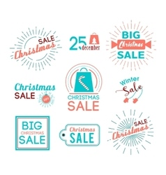 Christmas sales stickers set with flat icons vector