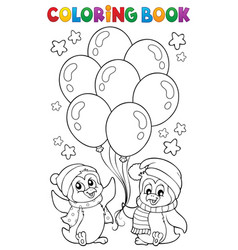 coloring book party penguins 1 vector image