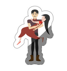 Couple romantic - man carrying girl shadow vector