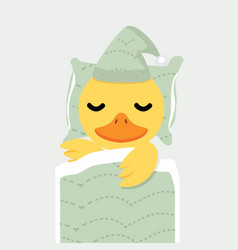 cute yellow duck chick sleeping cartoon vector image