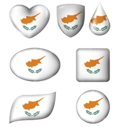 Cyprus Flag in various shape glossy button vector image