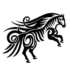 digital drawing of black tribal horse silhouette vector image