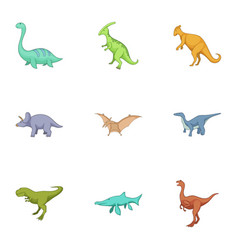 Dinosaurs icons set cartoon style vector