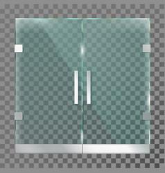 Double glass door mall store entrance doors vector