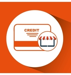 E-commerce virtual shop credit card icon vector