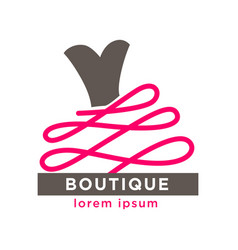 Fashion boutique with designers clothes logotype vector