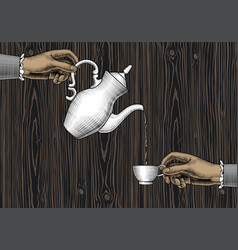 female hands with a coffee cup and a coffee pot vector image