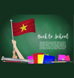 flag of vietnam on black chalkboard background vector image