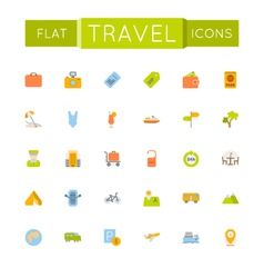 Flat Travel Icons vector image