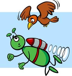 Flying alien cartoon vector
