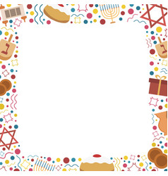 Frame with hanukkah holiday flat design icons vector