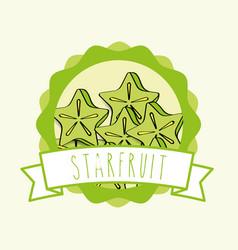 fresh carambola natural fruit organic emblem vector image