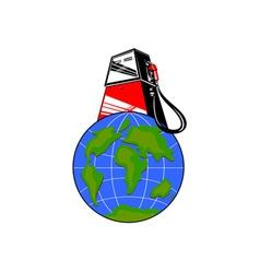 Fuel Pump on Globe vector image