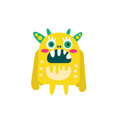 Funny yellow cartoon monster fabulous incredible vector