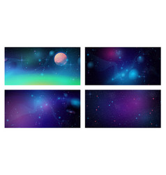 Futuristic space backgrounds set cosmic galaxy vector