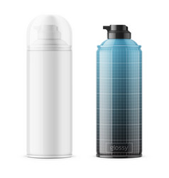 Glossy tin can for shaving foam vector