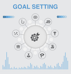 Goal setting infographic with icons contains such vector