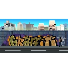 Graffiti wall background urban art vector image