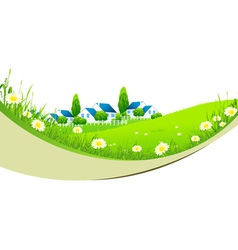 Green Landscape with Village vector image