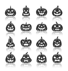 halloween pumpkin monochrome silhouette icon set vector image