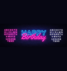 happy birthday neon sign birthday vector image