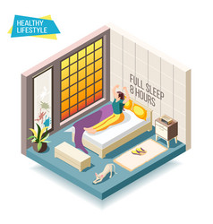 Healthy lifestyle isometric composition vector
