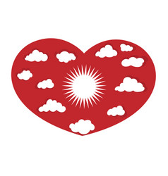 heart with sun and clouds icon concept vector image