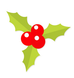 Holly berry icon mistletoe green leaf three red vector